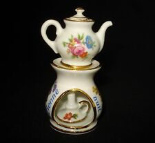 LIMOGES FRANCE 4 PIECES SET MINIATURE TEAPOT & WARMER WHITE FLORAL GOLD DETAIL