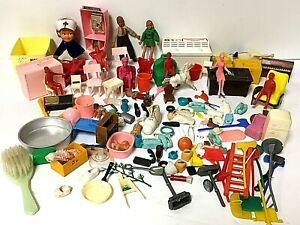 Large Vintage 1960's Mixed Dollhouse Furniture and Various Toy Lot