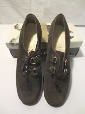 Vtg 60's mod Brown Suede Leather Hush Puppies Leather Oxfords Laceup Sz 8 1/2