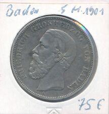 Kaiserreich Baden 5 Mark 1901 Friedrich