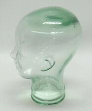 GREEN TINTED GLASS MANNEQUIN HEAD ~ HAT DISPLAY, PROP - EUC