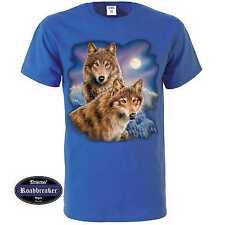 T Shirt royalblau mit einem Wolf Tier-/ Naturmotiv Modell Wolves Moon
