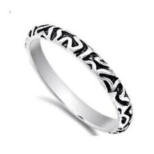 100% GENUINE 925 HALLMARKED Sterling Silver Patterned STACKABLE Band Ring Size 7