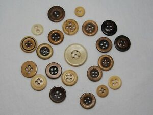Lot of 22 Vintage Buttons Bone Antler Round 5 Hole 4 Hole 2 Hole Bovine