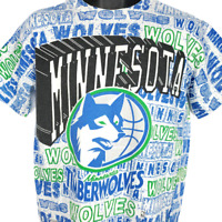 Minnesota Timberwolves T Shirt Vintage 90s All Over Print Made In USA Medium