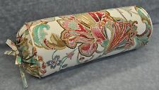 Self Corded Bolster Neck Roll Pillow made w Ralph Lauren Antigua Floral Fabric
