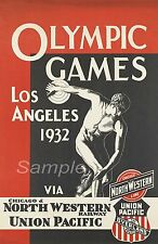 VINTAGE 1932 LOS ANGELES OLYMPIC GAMES A4 POSTER PRINT