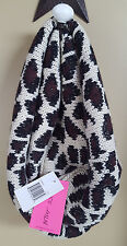 NWT Betsey Johnson Leopard Tan Black Silver Knit Cowl Infinity Scarf