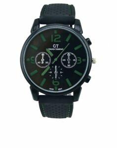 Mens Watches Black Casual Quartz Analogue Wrist Watch Fashion Silicone Gift UK