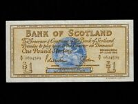 Scotland:P-105a,1 Pound,1966 * Medallion * Bank Of Scotland * VF+ *