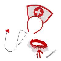 5x Nurse Costume Kit  Hat Earrings Syringe Name Tag Fancy Dress