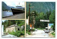 Postcard Hyder, AK Alaska Marine Hwy, Ferry at Dock, Masonary Bldg multiview AJ1