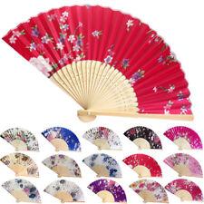 Chinese Flower Red Silk Bamboo Folding Hand Held Fan Elegant Lady Wedding Dance