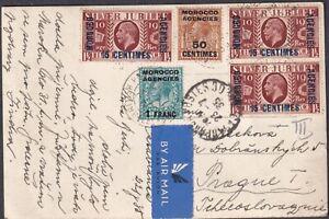 1935 MOROCCO AGENCIES GB OVERPRINT CASABLANCA superb PPC to ČSR