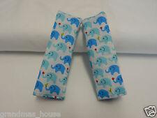 Baby Seat Strap Covers Car Highchair Stroller Pram Capsule - Tiny Blue Elephants