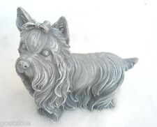 """Yorkie dog latex mold w/ plastic backup cast in concrete or plaster 7"""" x 6.5"""""""