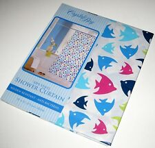 NEW! TROPICAL ANGEL FISH SHOWER CURTAIN Vinyl Pink Blue Yellow White Bathroom