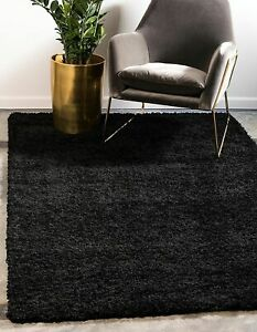 NEW Unique Loom Solo Solid Shag Modern Plush Jet Black 3' x 5' Area Rug