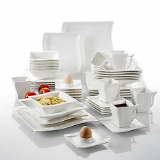 42-pieces Square Ceramic Porcelain Dinner Set China Crockery Plates Dinnerware