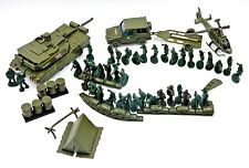 SET OF 52 TOY ARMY SOLDIERS, HELICOPTER, TENT, SANDBAGS, BARRICADES & MORE!