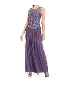 Patra Womens Purple Sequined Sleeveless Formal Dress Gown Sz 14 NWT $249