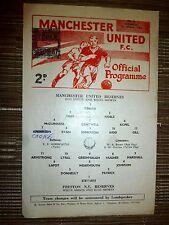 1966/67 Football Programme: Manchester Utd Res.v Preston North End Res- 1st Oct.