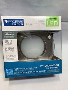 Progress Lighting 5.5in Brushed Nickel LED Mini Flush Mount Light ENERGY STAR U2