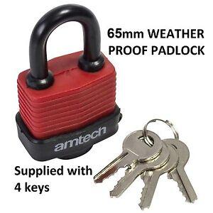 Large 65mm Security PADLOCK Weatherproof Durable 4 Keys Garage Home Safety Sheds