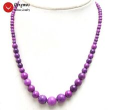 4-10mm Round Purple Natural Sugilite 17'' Chokers Necklace for Women Jewelry-638