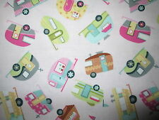RETRO TRAILERS VINTAGE CAMPERS SMALL PINK TRAILER COTTON FABRIC FQ