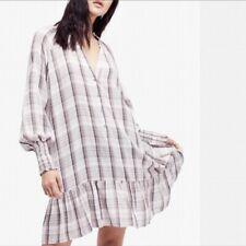 FREE PEOPLE Red Moon Plaid Mini Dress Neutral Combo SMALL S $$128 OB652804 NWT