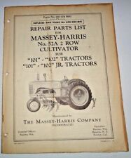 Massey Harris No.52A Cultivator Parts Catalog Manual Book  (for 101 102 tractor)