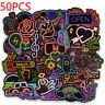 50Pcs neon light style cute stickers for suitcase laptop guitar cool doodleBLCA