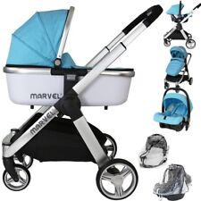 Marvel 3in1 Pram - Surf Blue (+Car Seat + Carrycot + X2 Rain Covers )