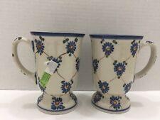 Boleslawiec Ceramic Set /2 Coffee/Tea MUG Hand Made Poland Cobalt Flower