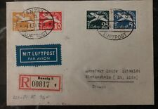 1939 Free City of Danzig Germany Airmail Cover To France Sc. #C36-39