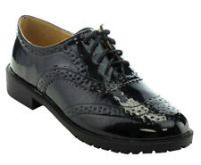 NEW 5 BLACK PU Casual Oxford Women Lace Up Low Heel Platform Suede Wing Tip Shoe