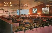 Logansport Indiana~The Gourmet Restaurant~Interior~Pink Booths~1960s Postcard
