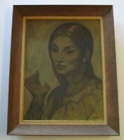 SALVADOR SIGNED 1950'S MID CENTURY PAINTING MODERNIST EXPRESSIONISM FEMALE MODEL