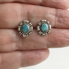 Small Navajo Turquoise Stone 925 Sterling Silver Stud Earrings