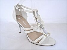 ROME FASHIONER LADIES WHITE SATIN WEDDING BRIDAL HEELS SANDALS UK 6 - EUR 39
