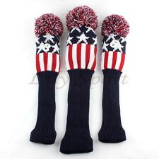 Red Star Stripe Knit Pom Golf Cover Headcover > Titleist Mizuno Driver FW 1 3 5