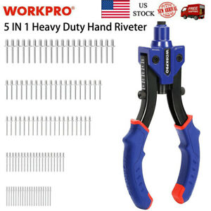 WORKPRO 10'' Manual Rivet Gun Heavy Duty Riveter W/3 Nosepieces And 100PC Rivets
