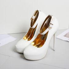 Zhou8 Mens High Heel Platform Strap unsex Drag Queen Stiletto Black Big Shoes Bu