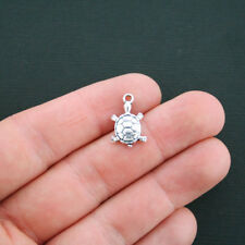 10 Turtle Charms Antique Silver Tone 2 Sided Tortoise Charms - SC062