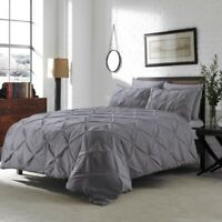 Pintuck Duvet Cover 100% Egyptian Cotton Quilt Bedding with pillowcases Covers