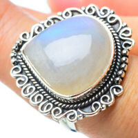 Large Rainbow Moonstone 925 Sterling Silver Ring Size 7.25 Jewelry R31561F