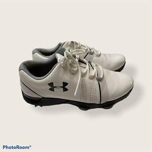 Under Armour Jordan Spieth Boys White Leather Golf Shoes 4.5