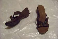wonens coconuts baker brown beaded cross strap wedge heels shoes size 8