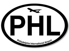 3x5 inch Oval PHL Airport Code Sticker - philadelphia pa airlines pa pilot fly